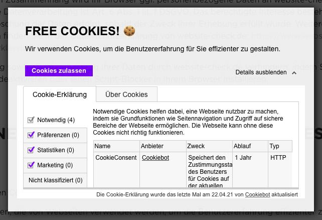 Cookiebot Beispiel