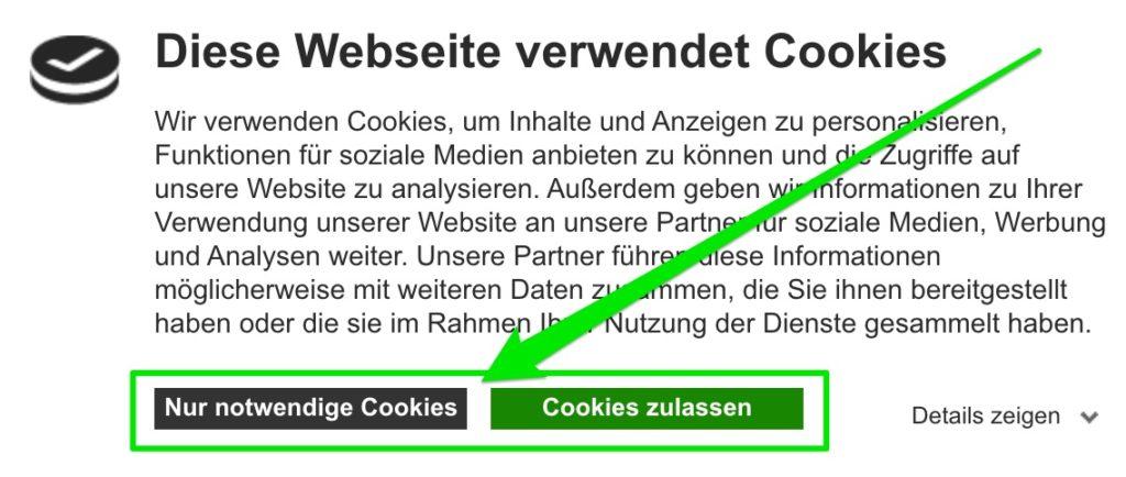 Cookiebot akzeptieren / ablehnen