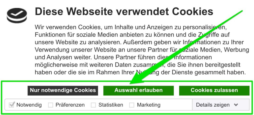 Cookiebot mehrere Ebenen