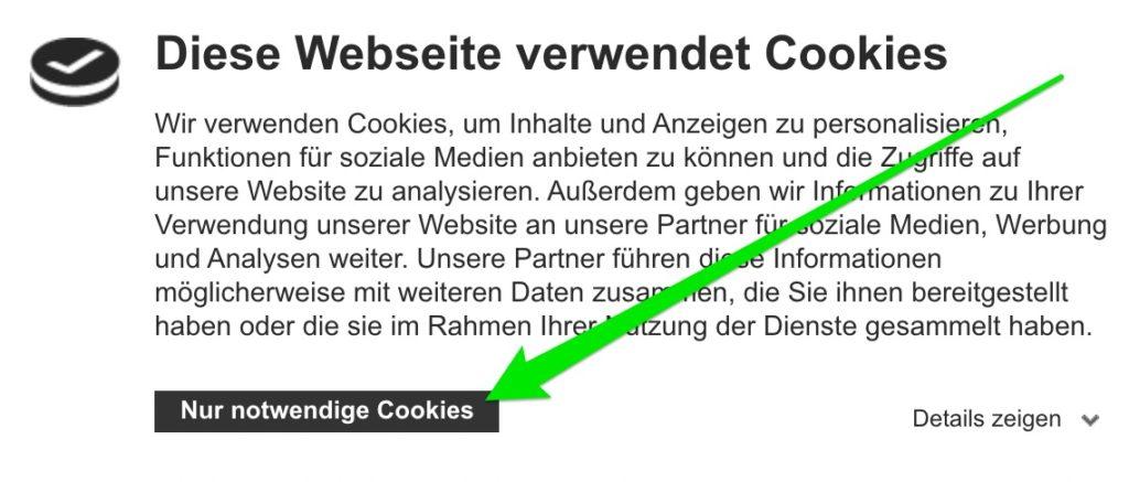 Cookiebot nur Ablehnen