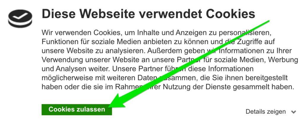 Cookiebot nur zulassen