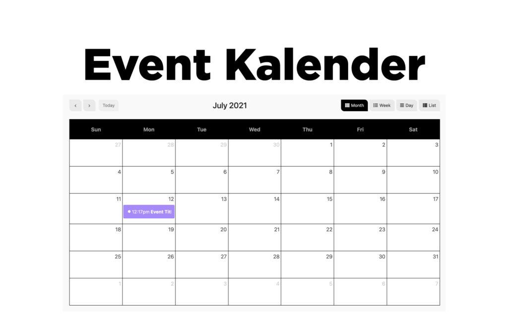 TYPORY Cloud Event Kalender